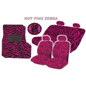 Zebra Low Back Seat Covers Bench Seat Cover with 2 Head Rest Covers