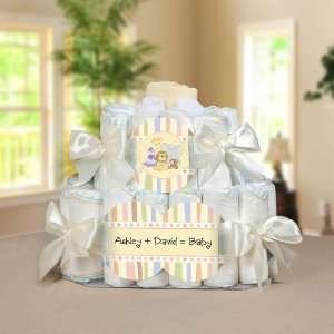 Crew Personalized Square   2 Tier Diaper Cake   Baby Shower Gift Baby