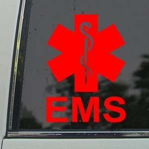 EMS Emergency Medical Services Red Decal Window Red Sticker