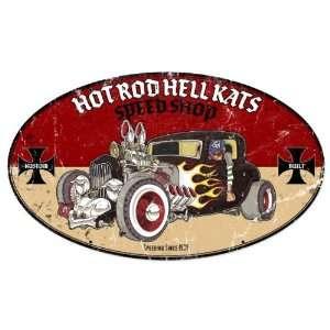 Hot Rod Hell Kats Automotive Oval Metal Sign   Victory