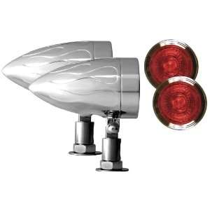 Adjure NS13514 R Beacon 1 Red Lens 35W Universal Mount Flamed Chrome