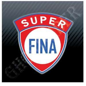 FINA Super Gas Oil Gasoline Fuel Pump Old Logo Sicker