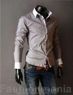 Mens Slim Business Garment Casual Shirt White M~XXL Z41