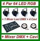 KIT 4 FARI PAR 64 LED RGB neri + CENTRALINA DMX + CAVI