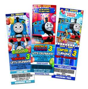THOMAS THE TANK TRAIN BIRTHDAY C3 PARTY INVITATION TICKET 1st   9 NEW