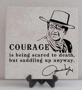 John Wayne Vinyl Lettering Tile Quote Decal COURAGE