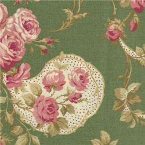 Pandolph Bowood House Green Floral Shabby Rose Fabric Christmas 0067 2