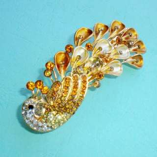 Elegant White and Golden Lady Crystal Peacock Hair Barrette Clip