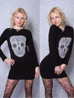 New Womens Ladies Knitted SKULL Print JUMPER Knitwear Top Dress Size S