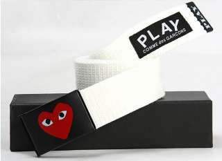 Play Comme des Garcons Canvas Belts/one size/White