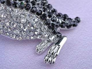 Adorable Clear Black Crystal Rhinestone Silver Tone Penguin Bird Pin