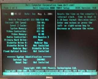 Dell Inspiron 8000 Intel Pentium 3 700MHz 128 RAM Laptop