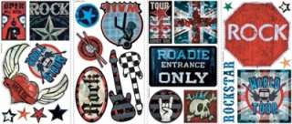 25 New BOYS ROCK AND ROLL WALL DECALS Signs Guitars Stickers Music