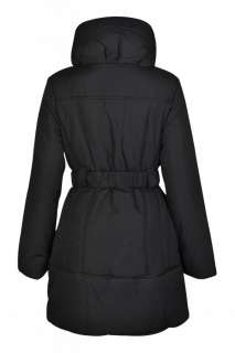 New Womens Quilted Padded Jacket Coat Ladies Long Belted Coat UK 8 10