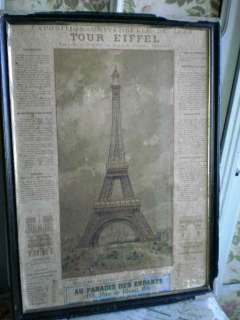 DIVINE SHABBY CHIC ANTIQUE FRENCH POSTER EIFFEL TOWER TOUR EIFFEL
