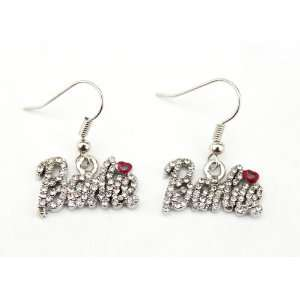 Iced Nicki Minaj Barbie French Hook Earrings with Red Kiss