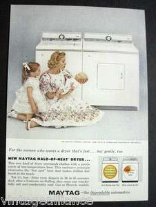1960 Vintage Maytag Halo of Heat Dryer Mother with Baby 60s Print Ad