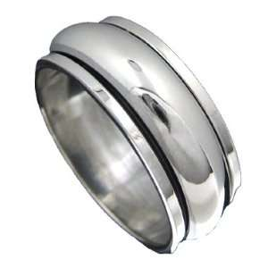 925 Silver PLAIN BAND Spinner Ring Size 9.5: Jewelry