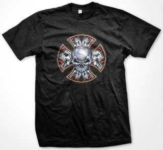 Iron Chopper Cross With Demonic Fanged Skulls Medieval Death Mens T