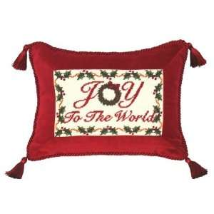 C265.9x12 inch Joy to the World Petit Point Pillow   100 Percent Wool