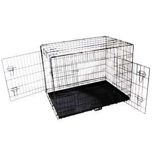 48 Two Door Folding Metal Pan Dog Cat Pet Carry Crate Kennel Bed Cage