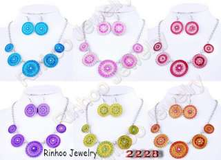 lots mix colors alloy necklace earring 6sets free