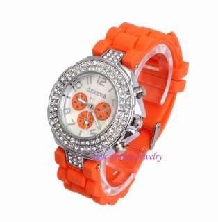 Fashion Geneva Silicone Crystal Stone Quartz Ladies/Women/Girl Jelly