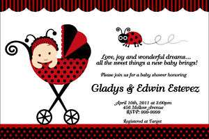 Ladybug Baby Shower Invitations U Print 24hr Service 4x6 or 5x7
