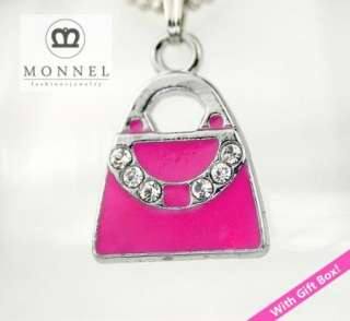 F305 Hot Pink Purse Charm Pendant Necklace(+Gift Box)