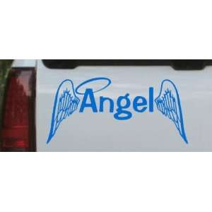 Blue 2.4in X 5in    Angel With Wings Christian Car Window Wall Laptop