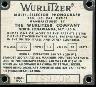 Wurlitzer 3700 # 799502 serial number identification plate or tag