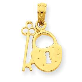 New 14K Pretty Yellow Gold Padlock and Key Pendant
