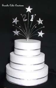Silver/Gold Star Cake Topper Any Number Birthday