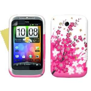 Brand New HTC Wildfire S Pink White Bee Floral Silicone Gel Case Cover