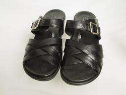 Womens SANITA Black Leather LIQUICELL Strappy Sandal Shoes 6.5 7 37