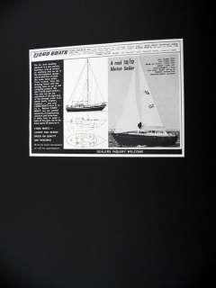 Fjord Boats 70 70 Motorsailer boat yacht 1972 print Ad