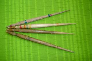 Lot of 4 Primitive Wooden Spindles For Wool Spinning