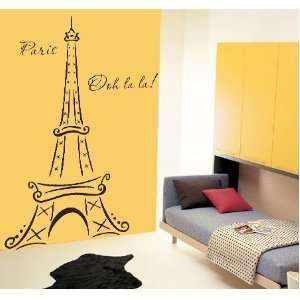 Eiffel Tower Ooh La La Paris 6ft Tall Vinyl Wall Decal Sticker Home