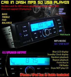 In Dash SD USB  Car Stereo Radio Player FM Non CD iPhone Front Aux