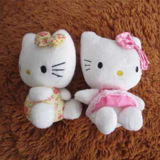 2Pcs HelloKitty Girls Kid Children Plush Doll Toy Birthday Pop Best