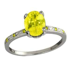 64 Ct Oval Canary Mystic Topaz and Canary Diamond 18k White Gold Ring