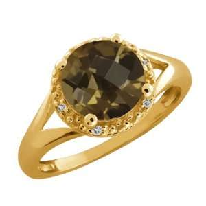 Round/checkerboard Brown Smoky Quartz and Topaz 10k Yellow Gold Ring