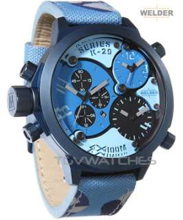 WELDER K29 8006 CAMO BLUE Mens 3 Times Chrono 53mm Watch NEW BEST