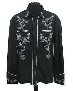 Black Cowboy Western Rodeo Shirt Mens New Line Dancing
