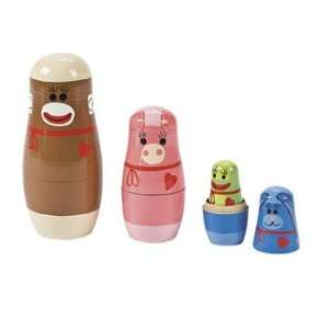 Sock Monkey & Friends Nesting Dolls   Novelty Toys & Toy