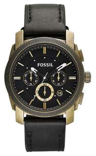 Brand New Fossil Black Leather Strap Steel Case Chronograph Mens Watch