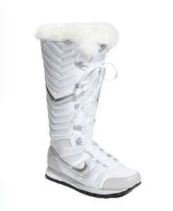 Nike SOLSTICE Winter White Gray Silver Faux Fur Lined LACE UP Tall