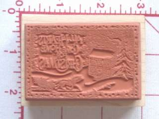 324 Rubber Stamp HOME FOR CHRISTMAS Winter Scene SLEIGH HOUSE