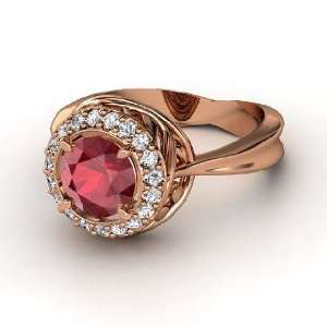 Chrysanthemum Ring, Round Ruby 14K Rose Gold Ring with Diamond