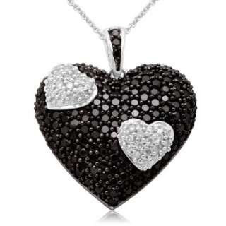 FINE JEWELRY DIAMOND NECKLACE WHITE BLACK DIAMONDS HEART PENDANT WHITE